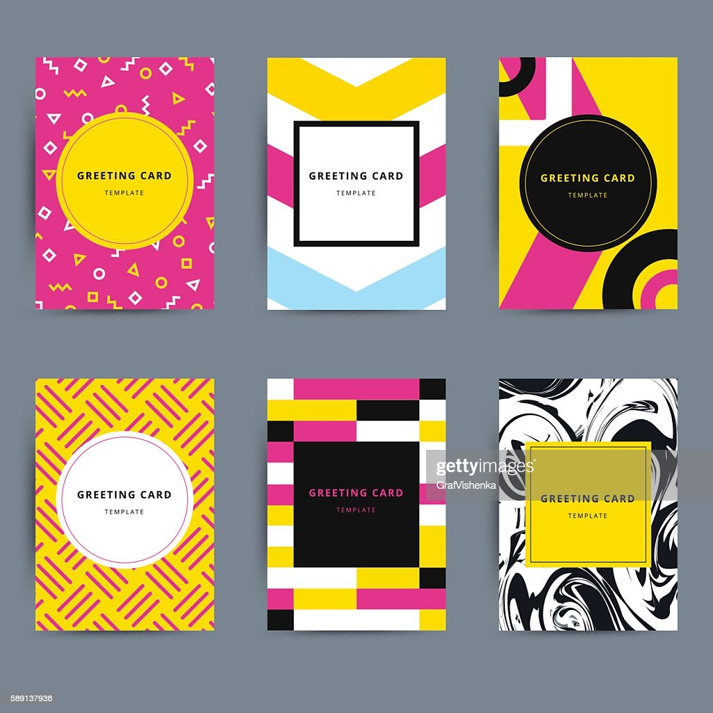 Set of trendy hipster geometric greeting cards design. Bright mo