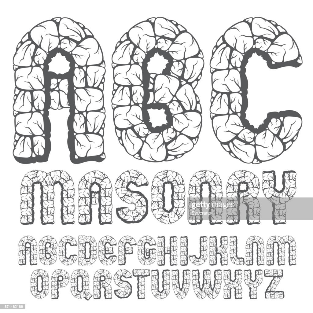 Set Of Trendy Old Vector Capital English Alphabet Letters Abc Vector
