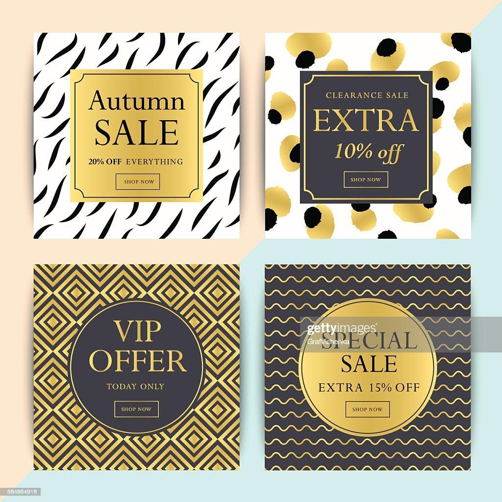 Set of trendy social media or online shop banner design.
