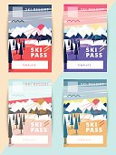 Set of trendy vector ski pass template design.