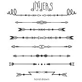 Set of Tribal dividers,dividers line in doodle style