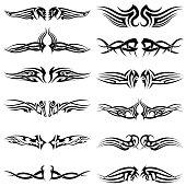 Set of tribal tattoos