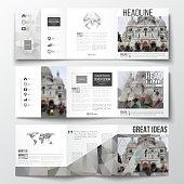 Set of tri-fold brochures, square design templates. Polygonal background