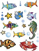 set of tropical fish, sea creatures, and bubbles