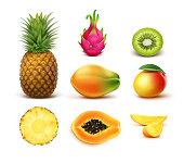 Set of tropical fruits