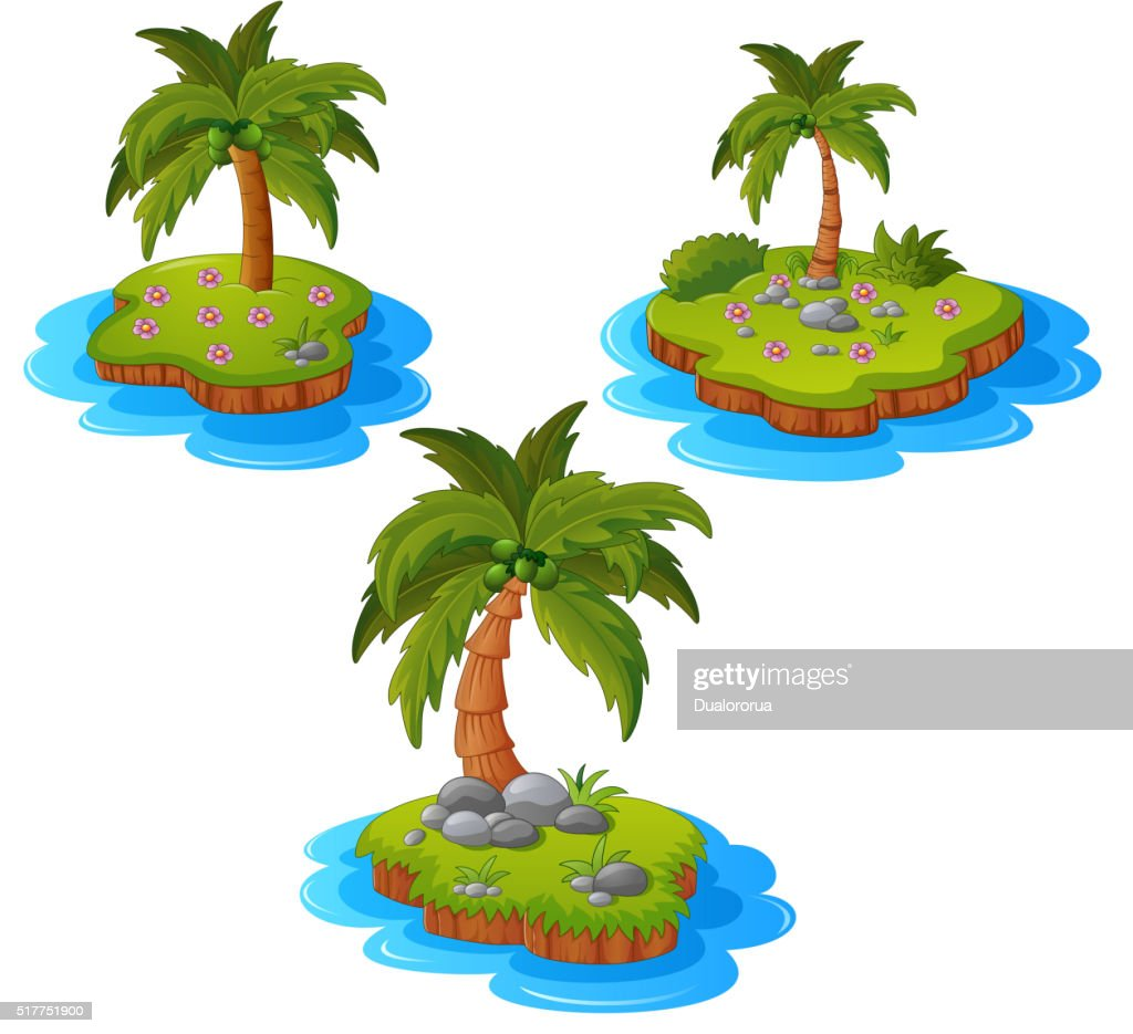 set of tropical island