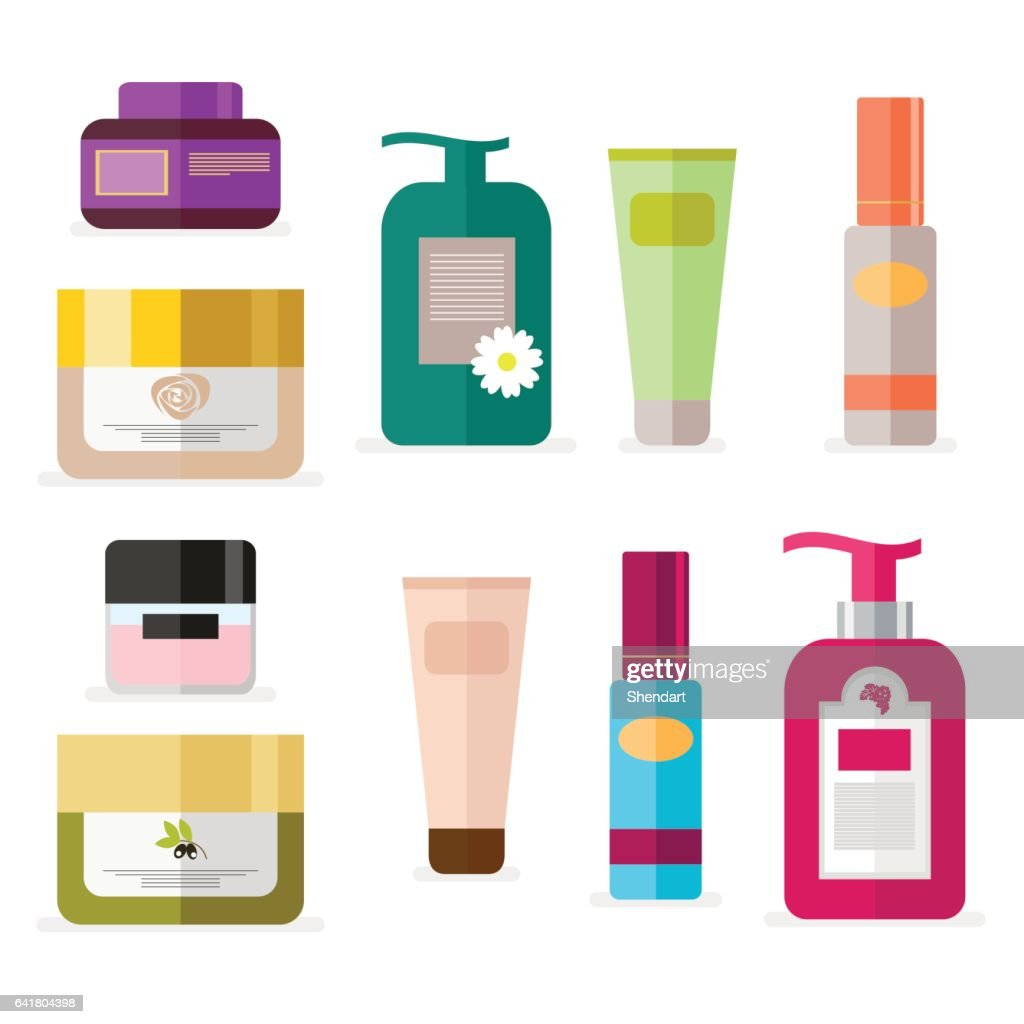 Set of tubes and vials cosmetics. Tools for beauty and skin care. Vector, illustration isolated on white background EPS10.