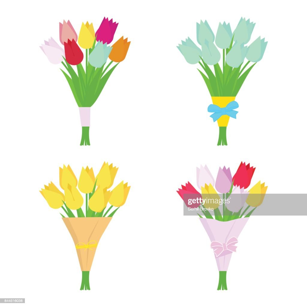 Set of tulip flowers bouquets isolated on white background. Flower arrangement.