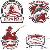 Set of tuna fishing labels. Design elements for emblem, design. Vector illustration.