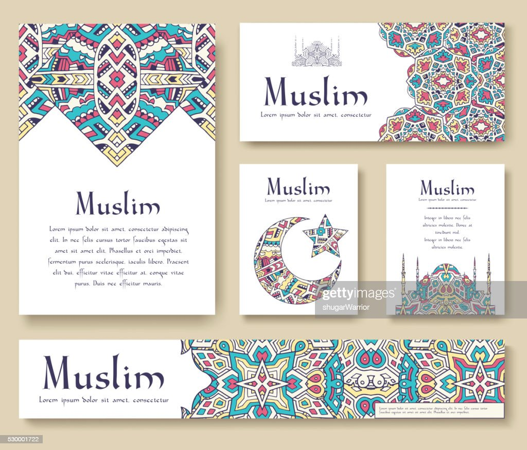 Set of Turkish flyer page ornament illustration concept