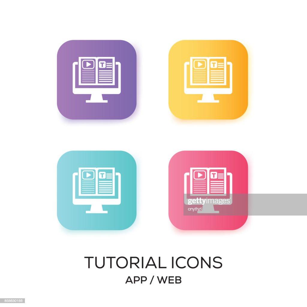 Satz von Tutorial App-Symbol : Stock-Illustration