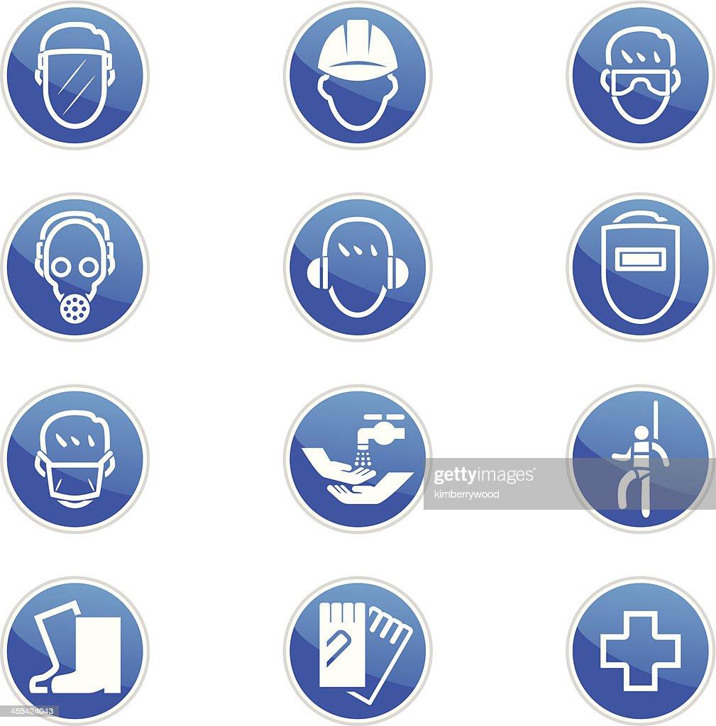 Set of twelve blue and white safety icons : stock illustration