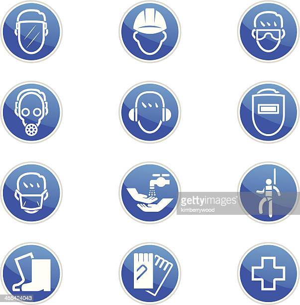 set of twelve blue and white safety icons - occupational safety and health stock illustrations, clip art, cartoons, & icons