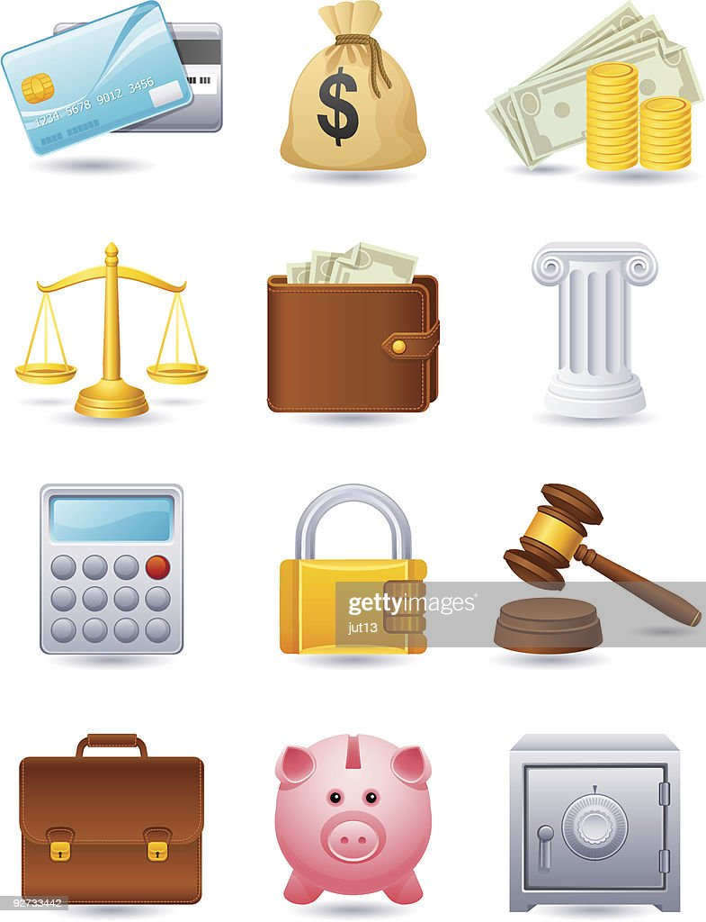 Set of twelve cartoon finance icons
