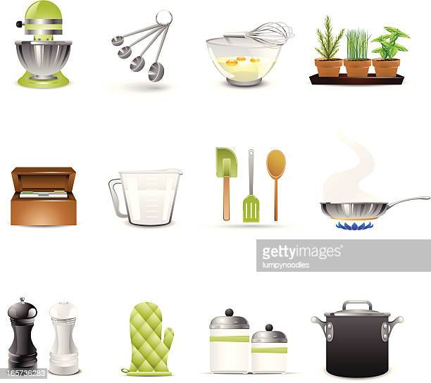 set of twelve cooking utensils and kitchen furniture icons - basil stock illustrations, clip art, cartoons, & icons