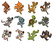Set of twelve cute running animals, color image