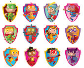 Set of twelve frames with funny children in superhero costumes