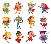 Set of twelve funny children in superhero costumes