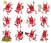 Set of twelve funny red devils