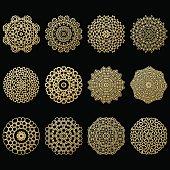 Set of twelve gold mandalas. Geometric circle Arabic element