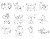 Set of twelve hand drawn zodiac signs