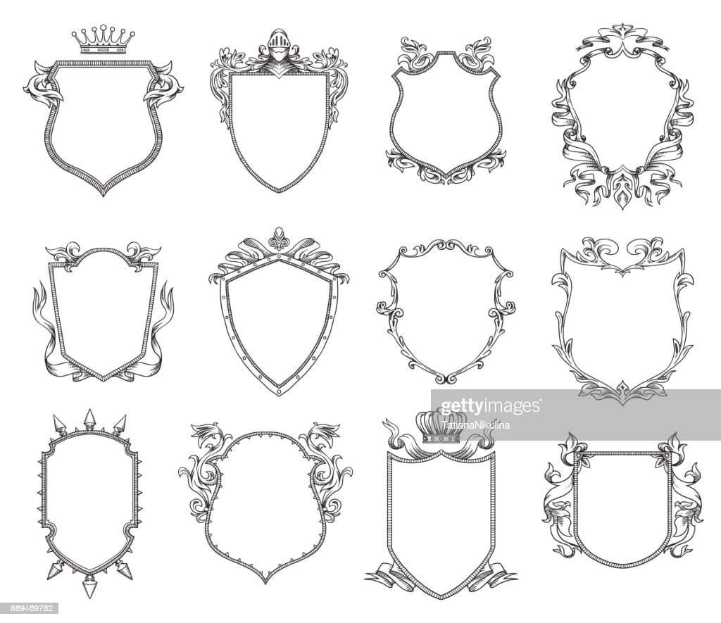 Set of twelve heraldic shields, line art