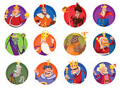 Set of twelve round frames with funny kings