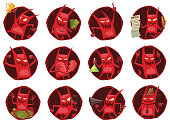 Set of twelve round frames with funny red devils