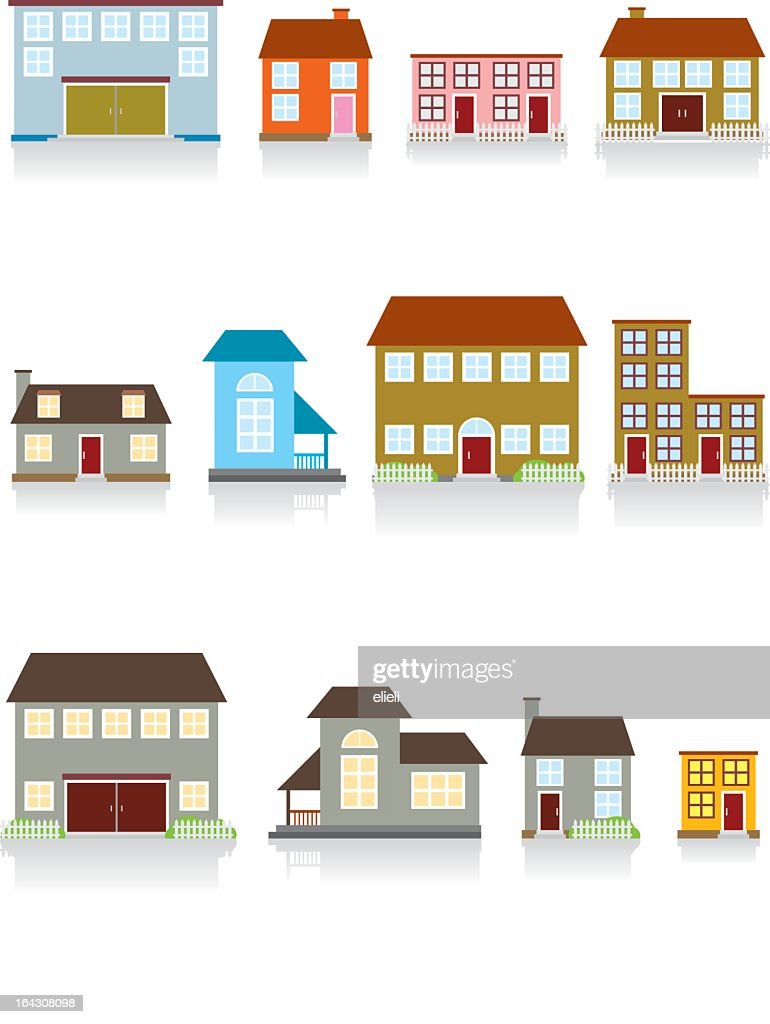 Set of twelve vector illustrations of houses
