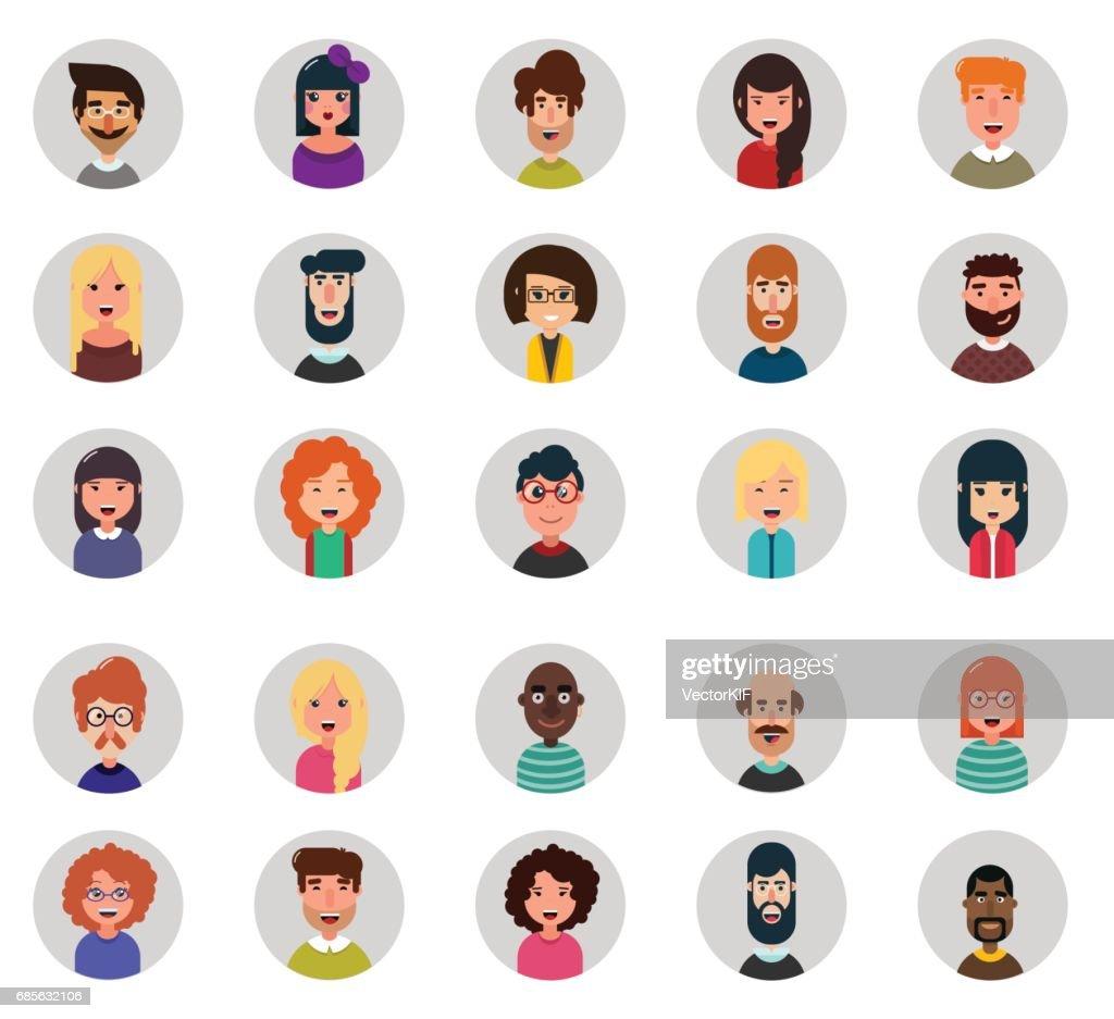 Set of twenty five avatar vector icons. Flat style