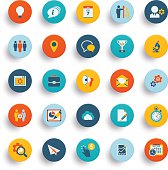 Set of twenty five material design icons and buttons
