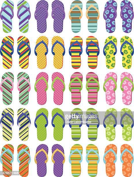 Set of Twenty Pair of Summer Flip Flops Multiple Designs