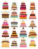 Set of twenty sweet birthday cakes with burning candles