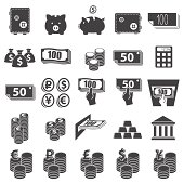 Set of twenty-five flat money-themed icons
