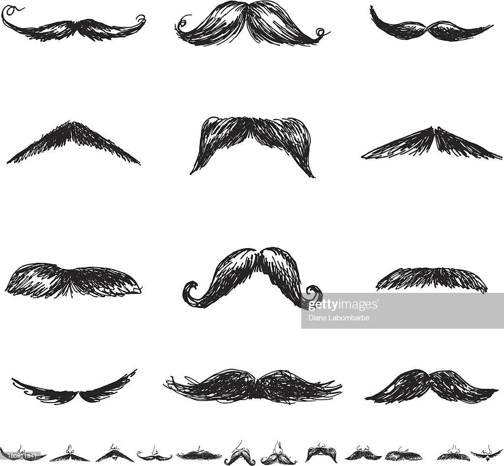 Set of Twenty-Four Men'sMoustacheIllustration Icons in Flat Colors : stock illustration