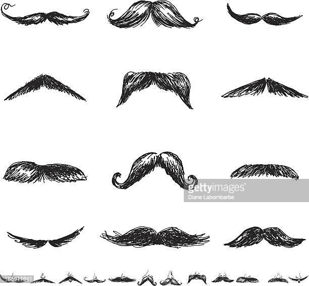 set of twenty-four men'smoustacheillustration icons in flat colors - mustache stock illustrations