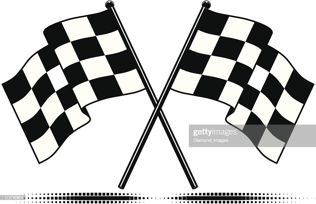 A set of two checkered black and white flags