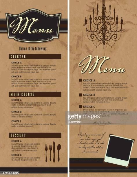 ilustrações, clipart, desenhos animados e ícones de conjunto de dois modelos de design elegante menu - marrom