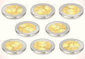 Set of Two Euro Coins Isolated on White