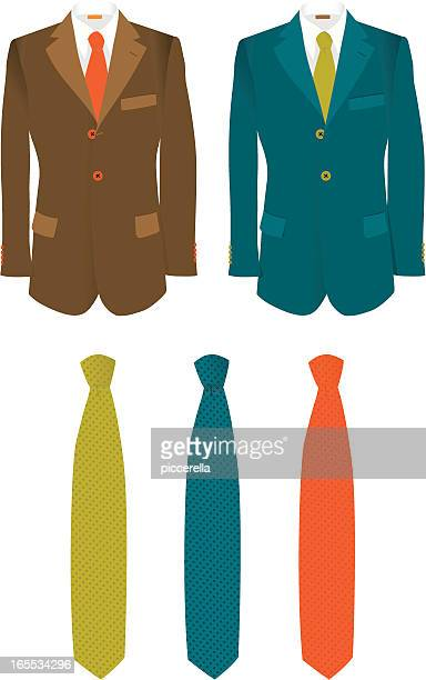 Set of two fully coloured man double-breasted suit