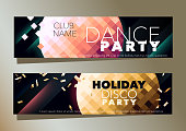 Set of two horizontal music party banner with golden and pink graphic elements.