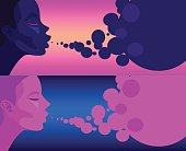 set of two illustrations girl blow bubbles