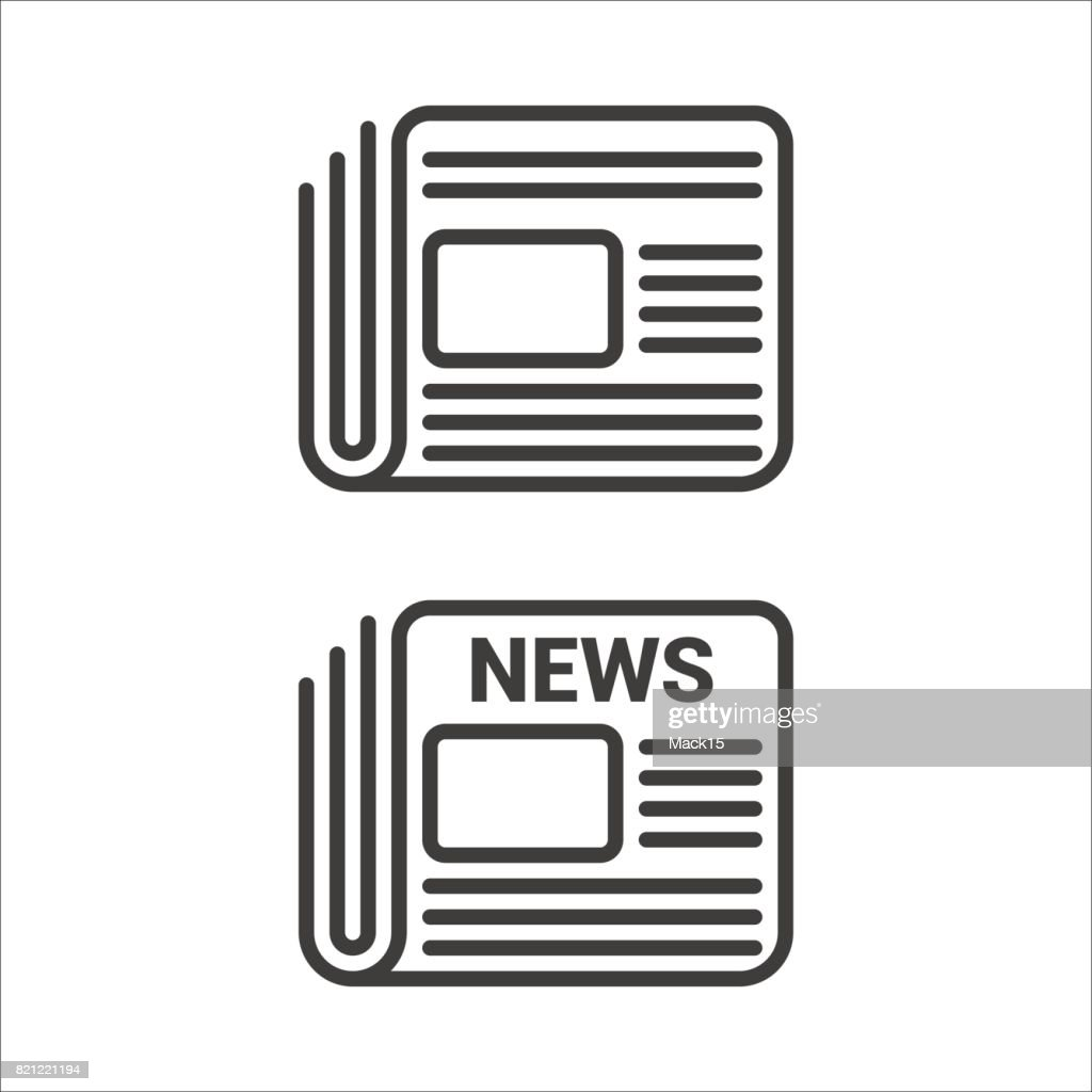 Set of two linear newspaper icons
