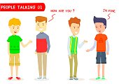 """Set of two men talking about """" How are you ? """" ,Two men character talking, Young guy, Gestures, I'm fine, Stylized cartoon character, Cartoon for education, Two men meeting, Student, Two men greetings"""
