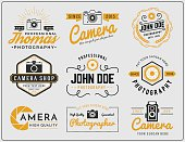 Set of two tone colors photography and camera service logo