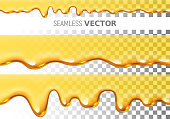 Set of two transparent vector seamless dripping honey pattern on checked background