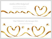 Set of two Valentine's Day cards with seamless gold ribbons and text space.