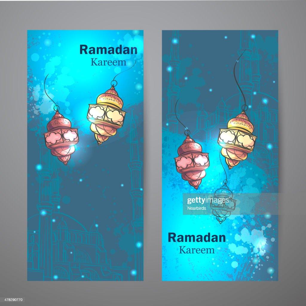 Set of two vertical banners for Ramadan Kareem
