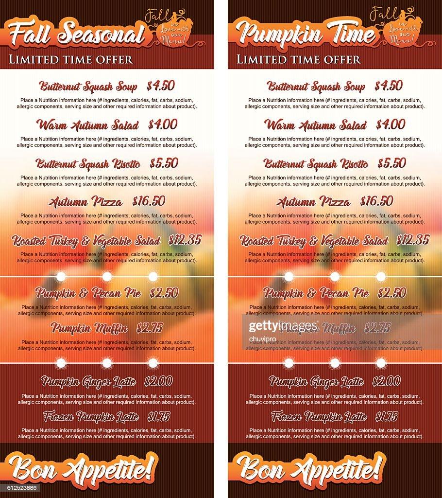 Set of two vertical cards Pumpkin Seasonal Menu 1/3Letter size