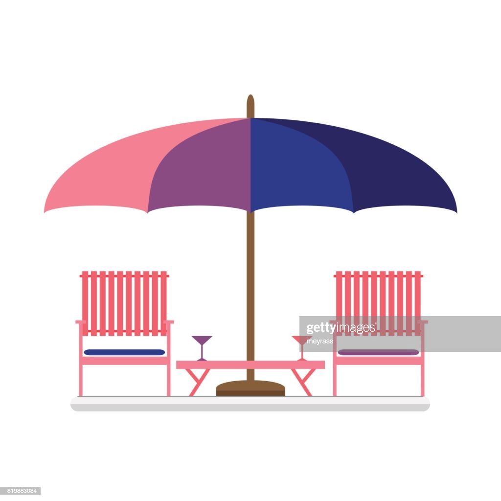 Set of two wooden chairs with small table under big sunshade.